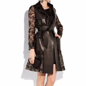 Valentino Leather and Lace Trench coat
